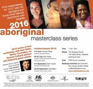 Flyer advertising Aboriginal dance masterclasses with multiple images at top